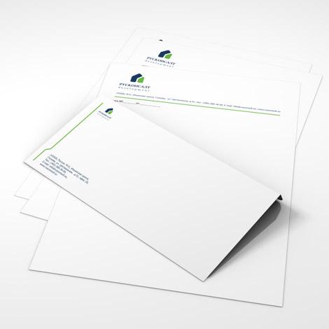 Фирменные бланки и конверт риэлторской компании «Русконсалт»