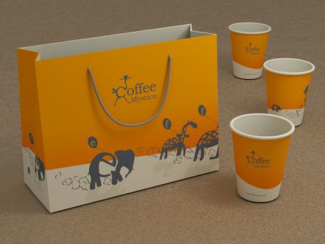 Фирменный пакет и бумажные стаканчики для кофе кафе «Coffee mystica»