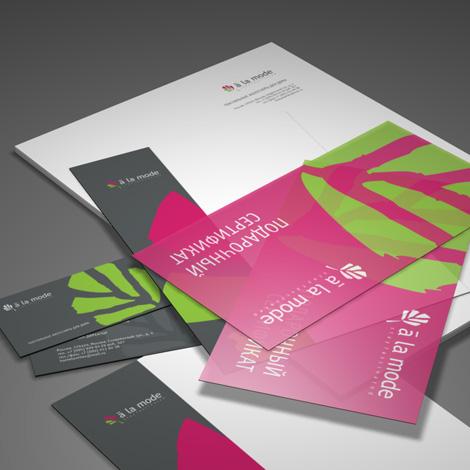 """Фирменный стиль компании  """"A la mode """".  При разработке логотипа для компании..."""